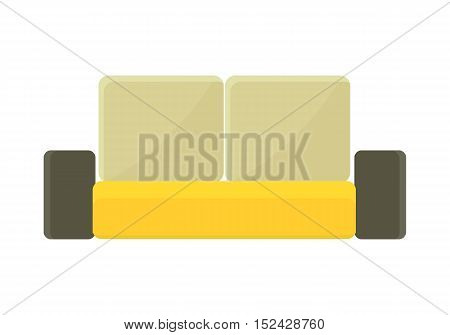 Yellow - brown sofa. Two-colored fabric couch. Sofa furniture icon. Sofa icon. Furniture element for office and home interior. Isolated object on white background. Vector illustration.