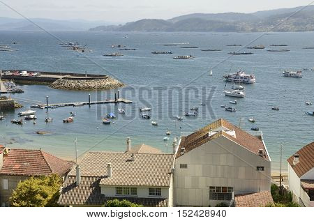 BUEU, SPAIN - AUGUST 9, 2016: Beluso marina located in the bay of Bueu in the province of Pontevedra Galicia Spain