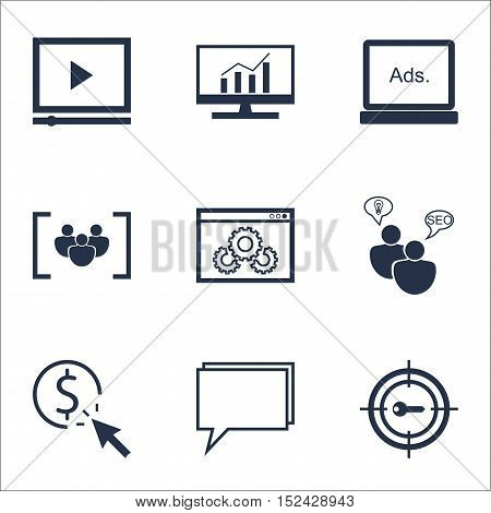 Set Of Marketing Icons On Ppc, Video Player And Questionnaire Topics. Editable Vector Illustration.