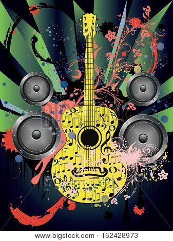 Grunge Guitar And Loudspeakers