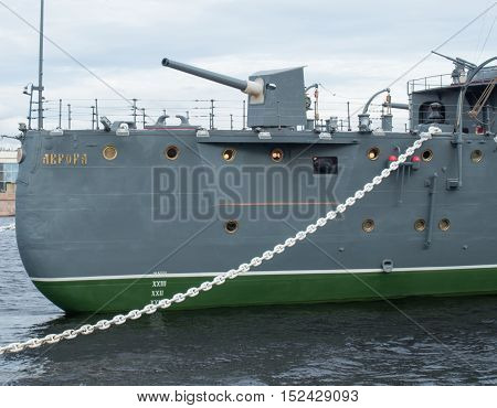 Saint Petersburg Russia September 12 2016: Bow gun of the Cruiser Aurora in Saint-Petersburg Russia