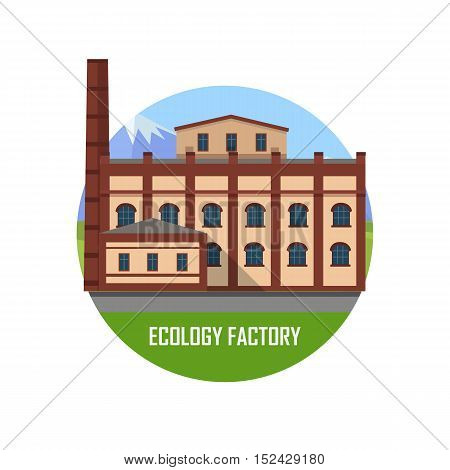 Ecology brown factory round icon. Factory building with pipes on nature landscape. Industrial factory building concept. Industrial plant with pipes in flat. Factory icon. Ecological production concept
