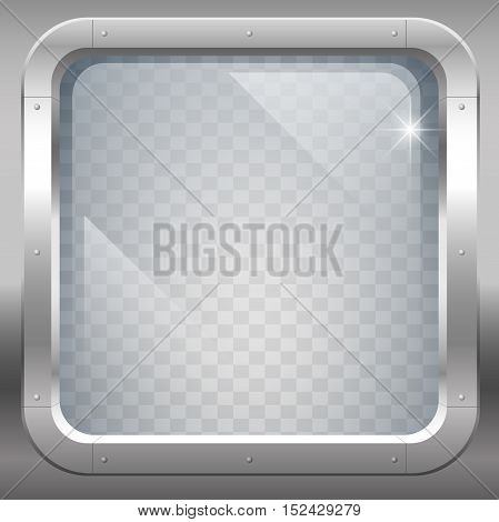 Fantastic steel window or porthole with armored transparent glass. Vector graphics