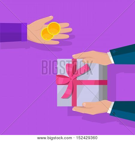 Buying gifts vector in flat design. Surprise in colored box with ribbon. Hands with packed present and coins. For shopping, holiday sales, discounts concepts, event management companies