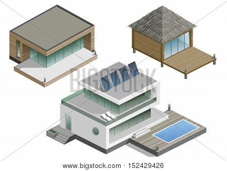 Set of modern houses in isometric schemes. Vector graphics