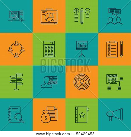 Set Of Project Management Icons On Computer, Report And Decision Making Topics. Editable Vector Illu