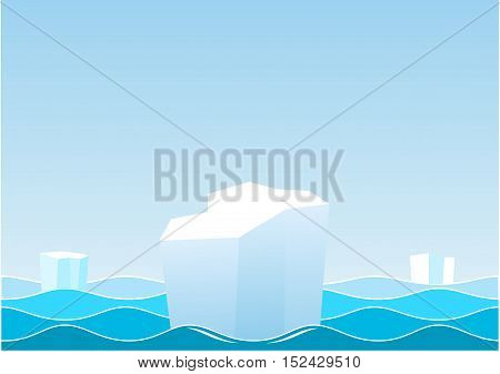Landscape with the waves of the sea sky and icebergs ice floes. Vector graphics.