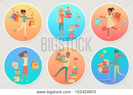 Set of banners sale with people. Men and women with presents, gift boxes, bags. Concept banner for Shopping. Vector character people buying goods at discount price. Christmas holiday shopping.