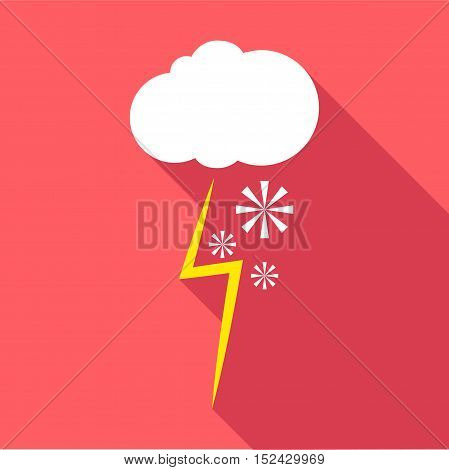Snow and thunderstorm icon. Flat illustration of snow and thunderstorm vector icon for web