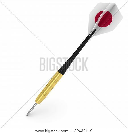 Dart With Japanese Flag Flight Isolated On White 3D Illustration