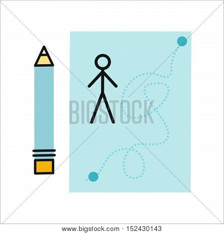 Drawing in pencil on sheet paper. Sheet paper with drawn little man. Sheet paper with pencil. Design element, icon in flat. Isolated object on white background. Vector illustration.
