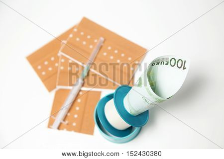 drug pills medicaments on one hundred dollars -euros banknotes as a background. Money and health still life concept.