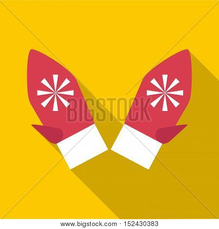 Festive winter mittens icon. Flat illustration of festive winter mittens vector icon for web
