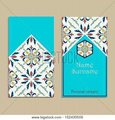 Vector business card template. Portuguese Moroccan; Azulejo; Arabic; asian ornaments. Geometric and floral motifs