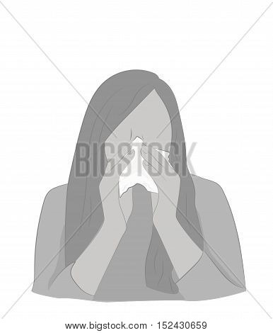 silhouette of a girl with a runny nose. Cover your nose with a handkerchief. cold. vector illustration.