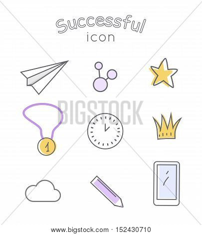 Successful icons set. Paper plane star medal clock crown cloud pen mobile phone. Things that bring good luck. Favourite items in the office work. Indispensable things. Vector illustration
