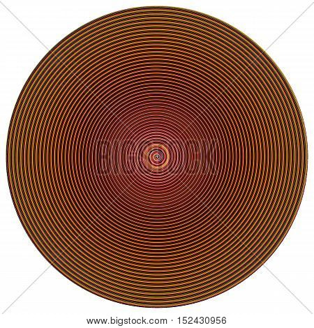 Disc with colorful concentric vortex circles isolated on white