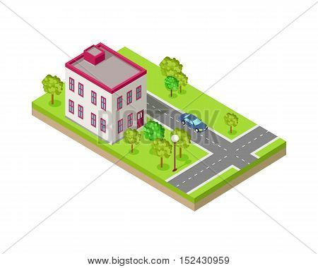 Isometric icon of two storey house near the road. Building house architecture, street of urban town, map and construction, residential office or home. Vector illustration in flat style design.