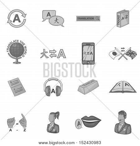 Language education icons set. Gray monochrome illustration of 16 language education vector icons for web