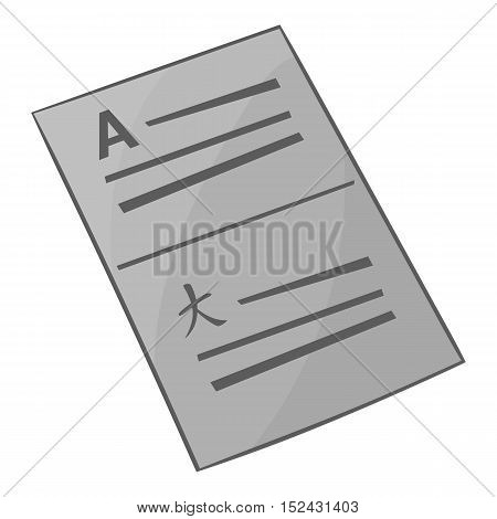 Document in english and japanese icon. Gray monochrome illustration of document in english and japanese vector icon for web