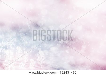 forest in the frost. Winter landscape. Snow covered trees. background