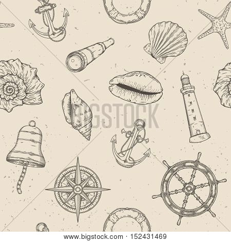 Hand drawn nautical seamless pattern. Vector illustration eps10.