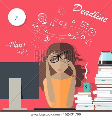 Woman tired at work. Deadline. Girl has a lot of work to do. Lady is all beat up and sick and tired of her business. Flat style. Part of series of daily routine of the week in the office. Vector