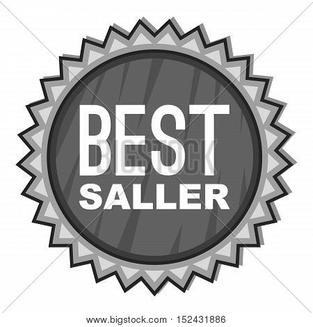 Label best seller icon. Gray monochrome illustration of label best seller vector icon for web