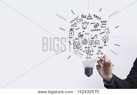 business graph with light bulb concept for idea innovation and inspiration for business