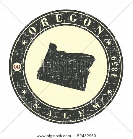 Vintage stamp with map of Oregon. Stylized badge with the name of the State year of creation the contour maps and the names abbreviations . Vector illustration