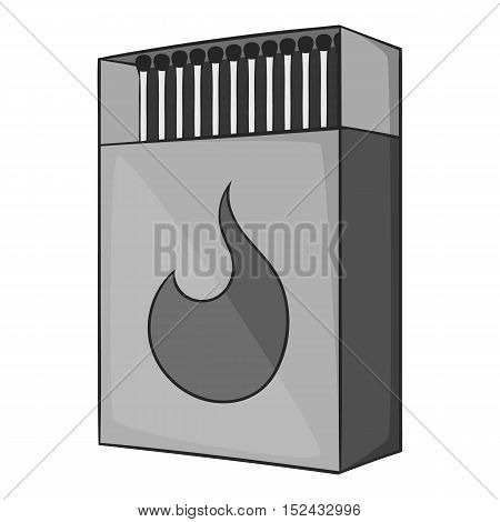 Box matches icon. Gray monochrome illustration of box matches vector icon for web