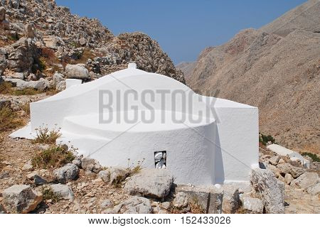 The Church of The Holy Trinity in the hills above Chorio on the Greek island of Halki.