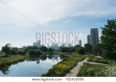 Chicago USA - September 25 2015: Skyline of Chicago from Northside looking south towards the city.