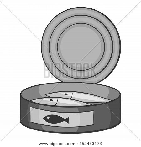 Fish in canned icon. Gray monochrome illustration of fish in canned vector icon for web