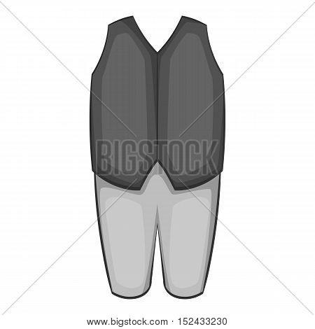 Waiter costume icon. Gray monochrome illustration of waiter costume vector icon for web