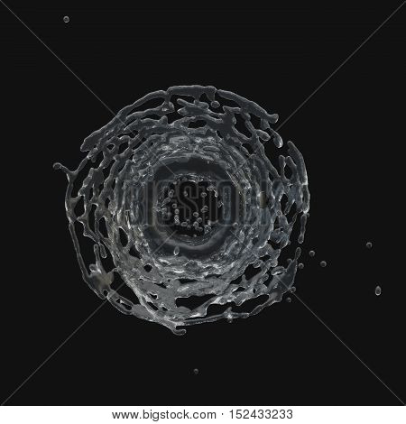 Isolated round splashing water on a black background. Radial splashes . 3D-rendering.