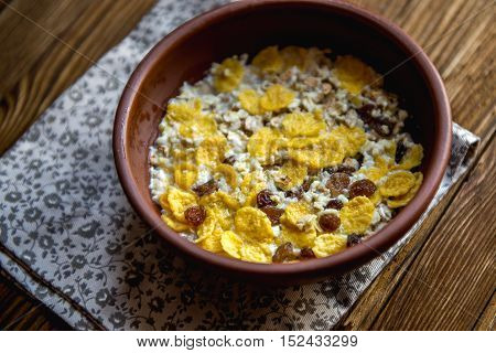 delicious and healthy granola or muesli with lots of dry fruits nuts and grains.