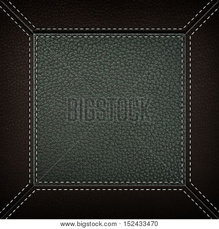 Texture of greyand brown leather background with stitched seam, close-up. Texture for design.
