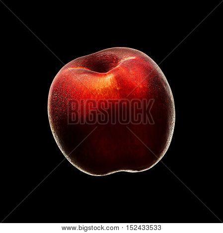 Ripe fresh nectarine peach isolated on black background. With clipping path.