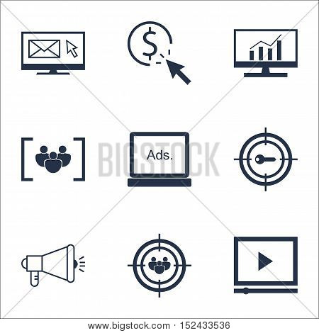 Set Of Marketing Icons On Digital Media, Focus Group And Newsletter Topics. Editable Vector Illustra