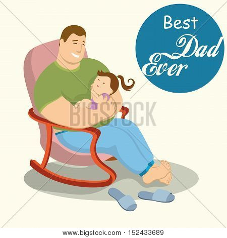 dad and daughter. fatherhood and childhood. paternal feelings. love for children. characters on a white background