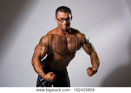 Happy Muscular Man With A Naked Torso