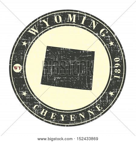 Vintage stamp with map of Wyoming. Stylized badge with the name of the State year of creation the contour maps and the names abbreviations . Vector illustration
