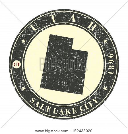 Vintage stamp with map of Utah. Stylized badge with the name of the State year of creation the contour maps and the names abbreviations . Vector illustration