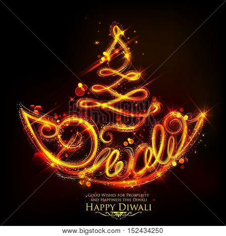 illustration of sparkling burning diya on happy Diwali Holiday background for light festival of India