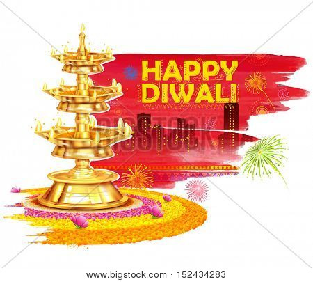 illustration of burning diya on Happy Diwali Holiday watercolor background for light festival of India