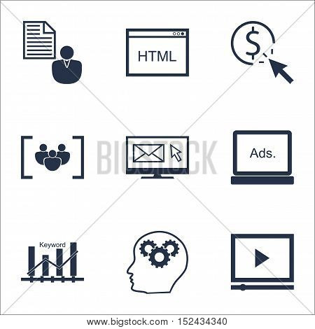 Set Of Advertising Icons On Ppc, Questionnaire And Coding Topics. Editable Vector Illustration. Incl