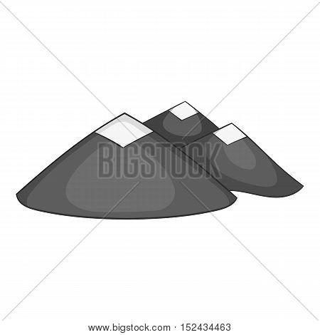 Mountains icon. Gray monochrome illustration of mountains vector icon for web