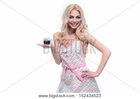 Model Girl Taking Muffin. Funny Joyful Woman With Sweets, Dessert. Diet, Dieting Concept. Junk Food,
