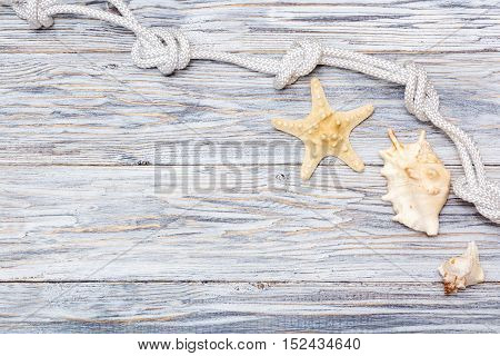 Marine rope and starfish on white boards flat lay